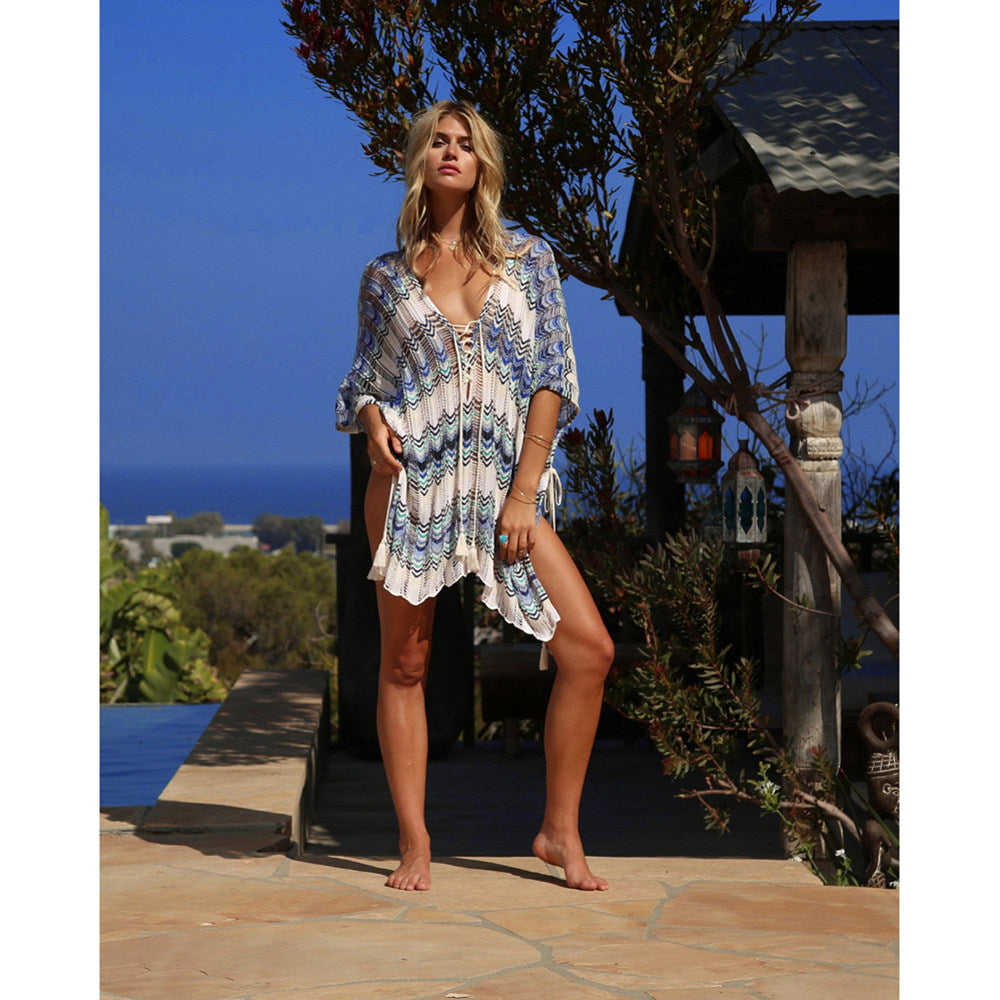 Sexy Beach Tunic Deep V Mesh Mini Dresses Knitted Cover Up