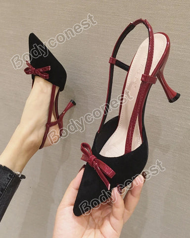 New Fashion Women's High Heels Suede Bowknot Sandals