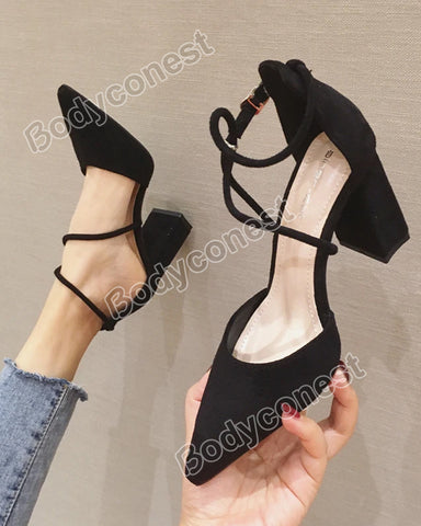 New Style Strappy Suede Heeled Pointed Toe Heels Ladies Sandals