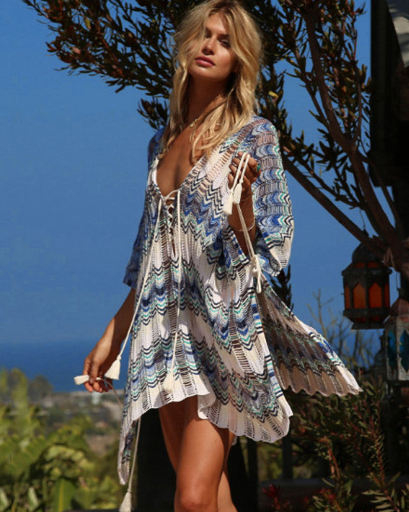 Sexy Beach Tunic Deep V Mesh Mini Dresses Knitted Cover Up 7