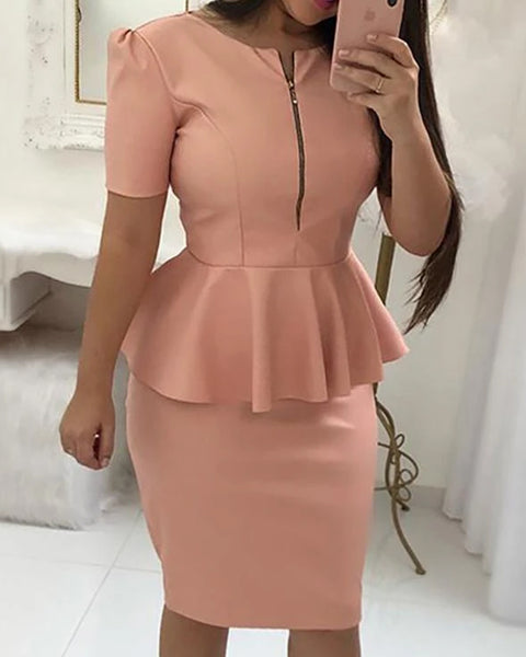 Solid Zipper Up Front Peplum Bodycon Dress