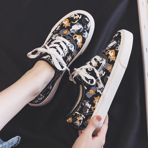 Women Shoes Breathable Comfortable Printing Cute Flats Fashion Trend Retro Non-slip Shoes Women Sneakers