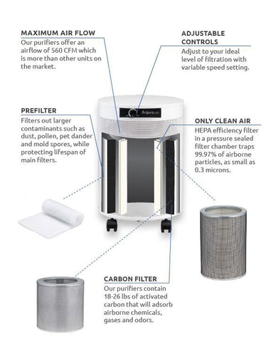 Chemicals and Gas Abatement AIRPURA C600 Medical Grade Air Purifier - Best-AirPurifier