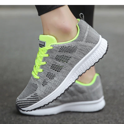 Fashion Lace-Up White Sport Sneakers Shoes for Women - Extra Fitness