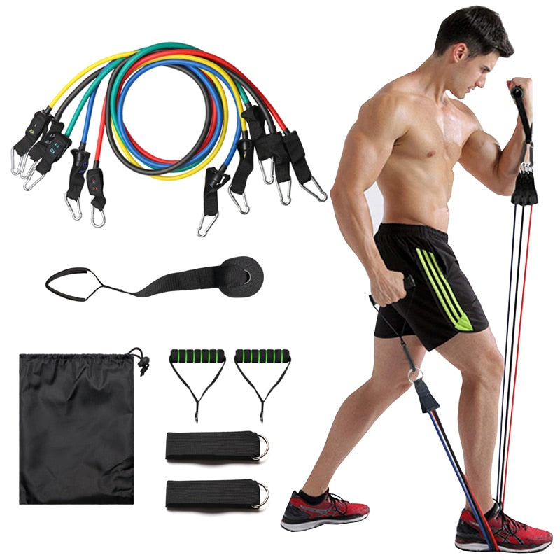 11pcs/set Comprehensive Fitness Resistance Pull Rope - Extra Fitness