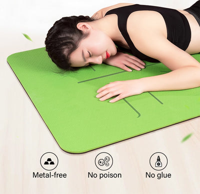 TPE Yoga Mat with Position Line - Extra Fitness