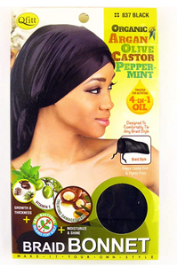 Qfitt 4 in 1 Oil Braid Bonnet - Black