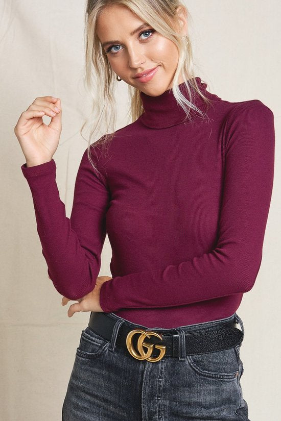Turtleneck Ribbed Sweater Plum