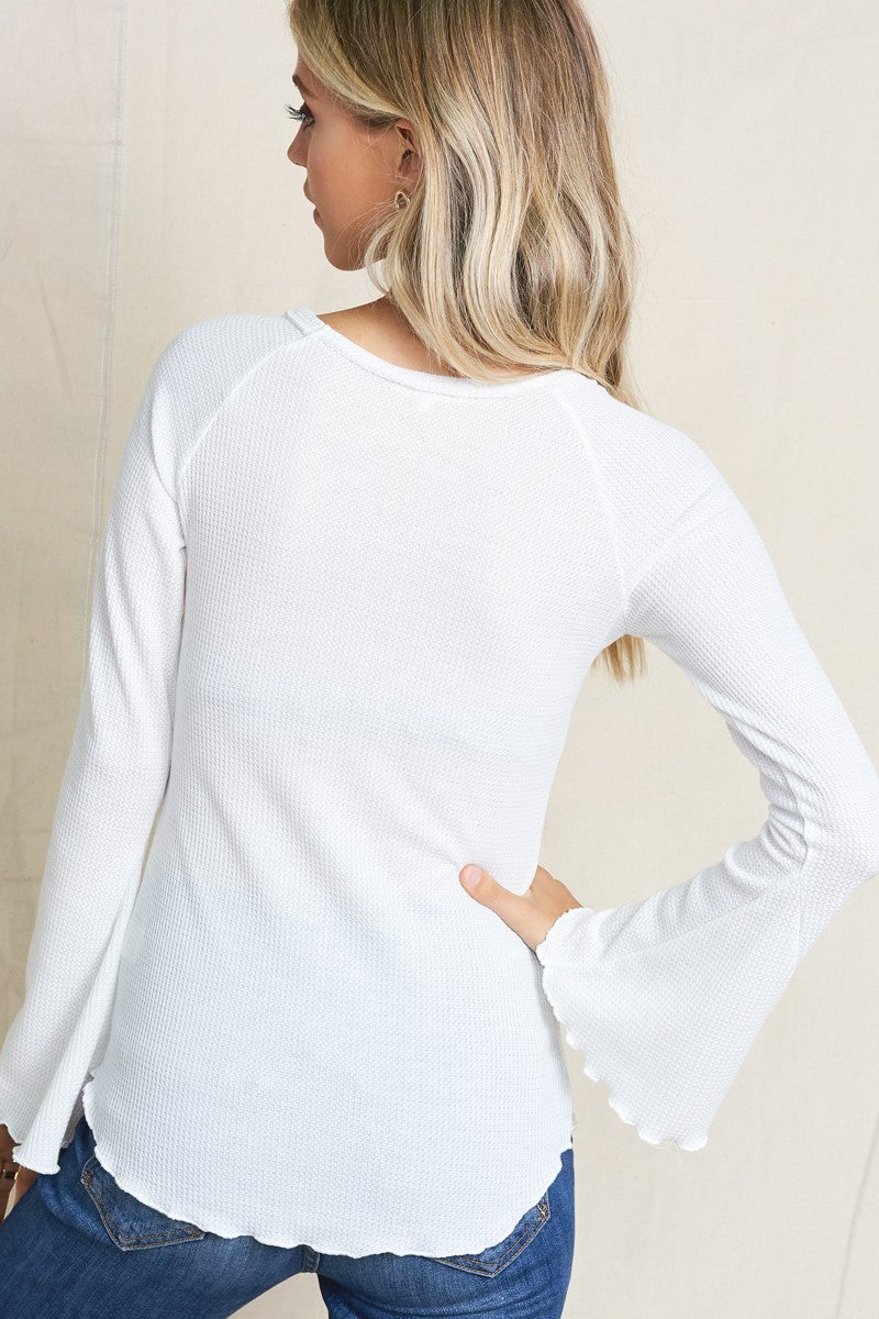 White Bell Sleeve Thermo Top