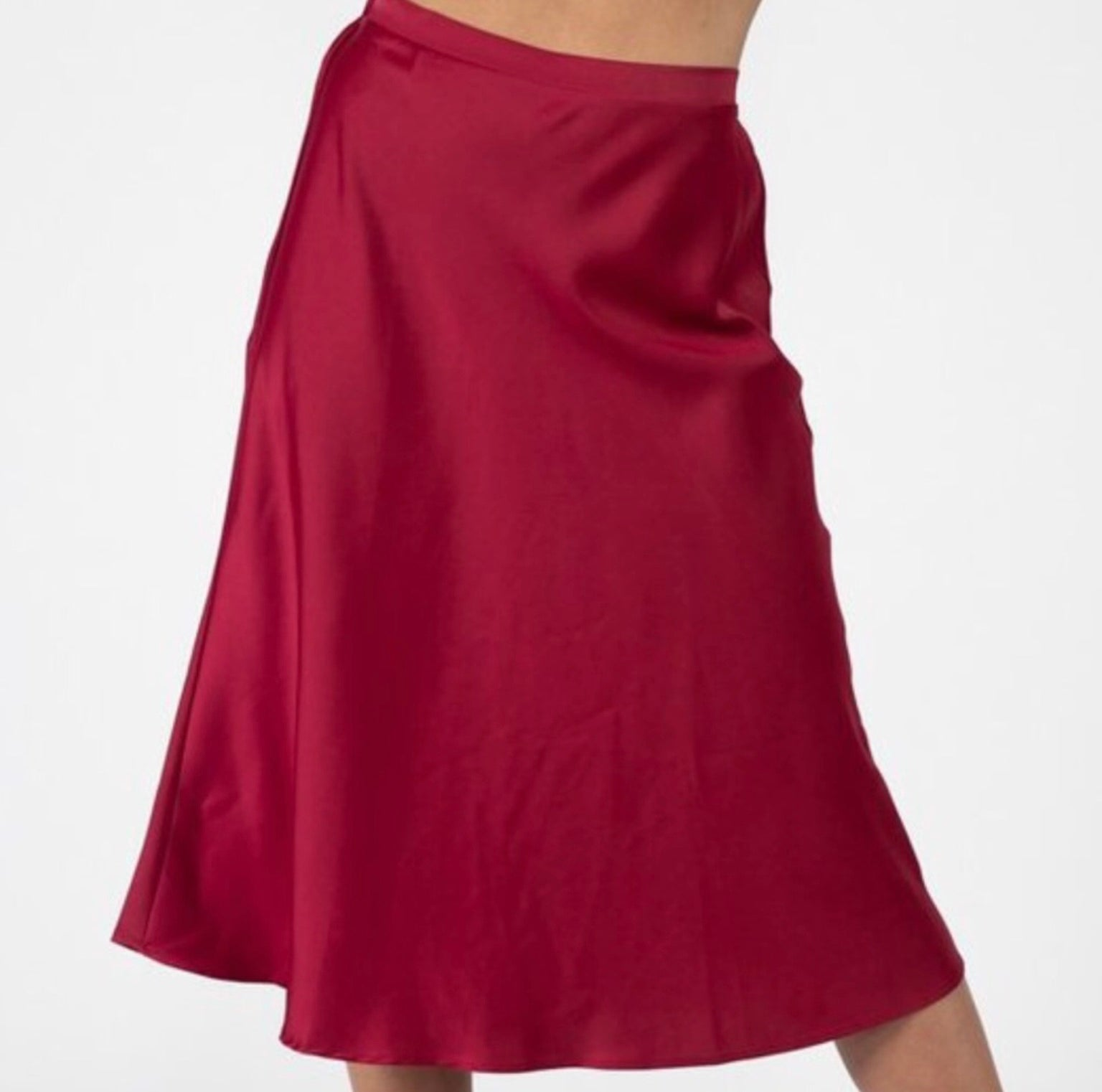 Satin A-Line Skirt Burgundy