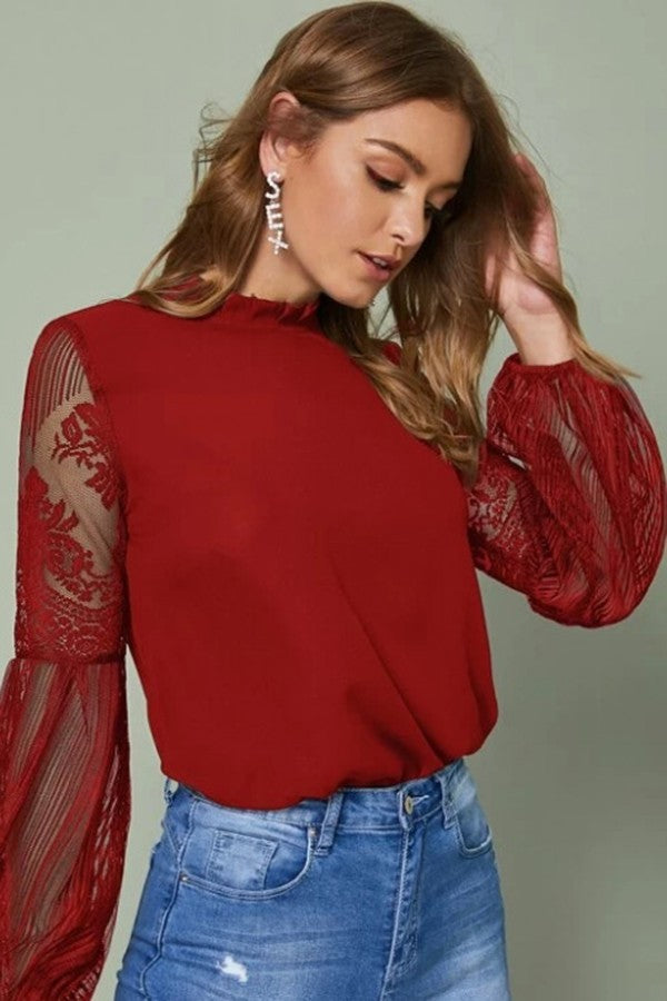 Red Long Sleeve Lace Top