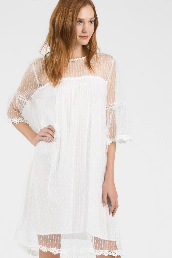 Cream Mid-length Lace Dress