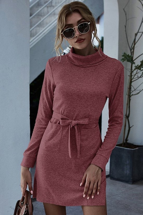 Dusty Rose Turtleneck Dress