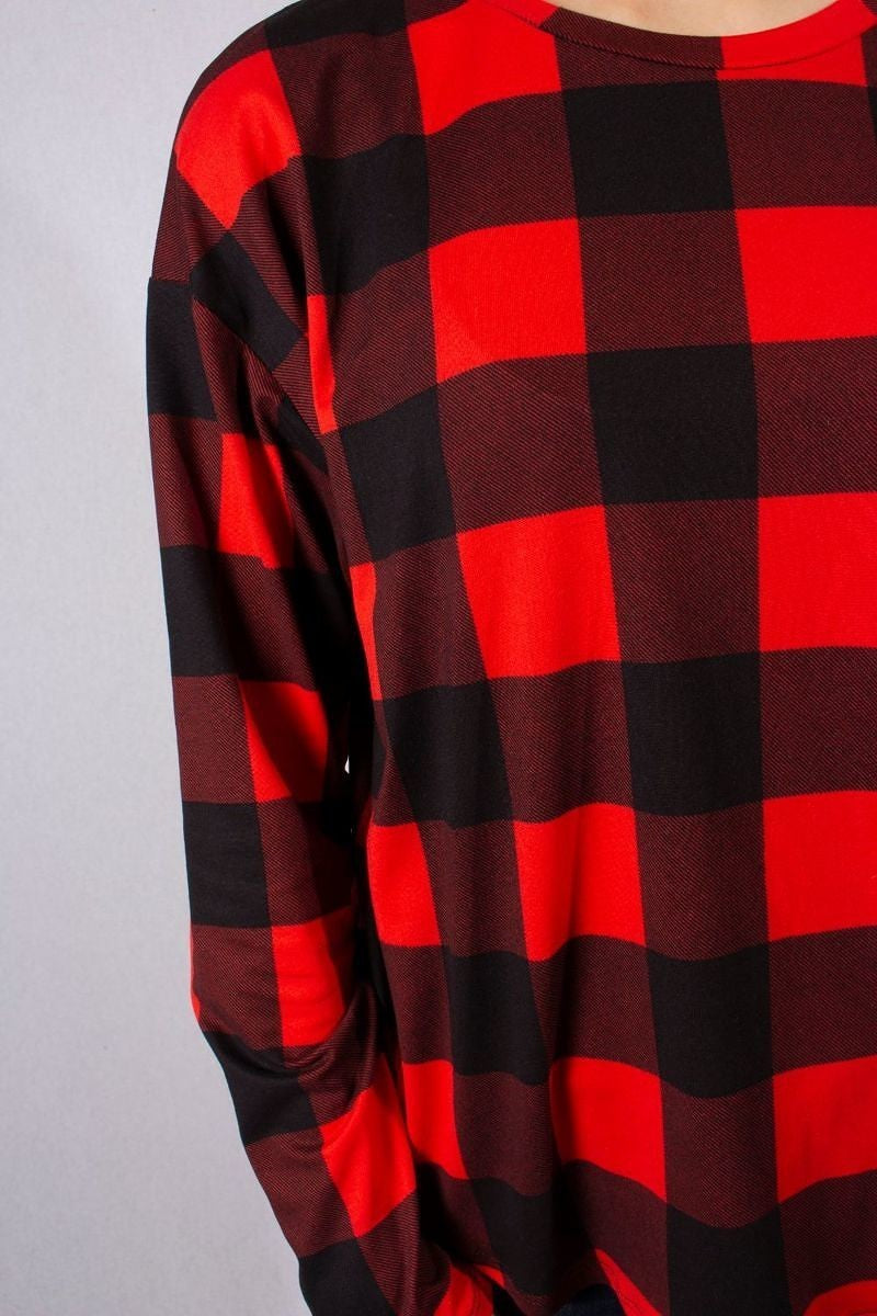 Black/Red  Plaid Top