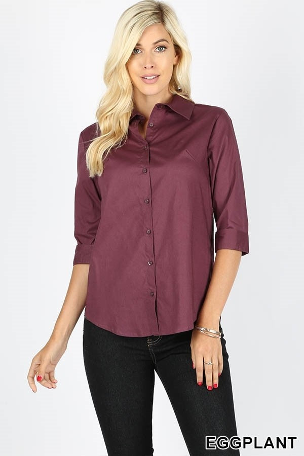 Eggplant Button Down Top