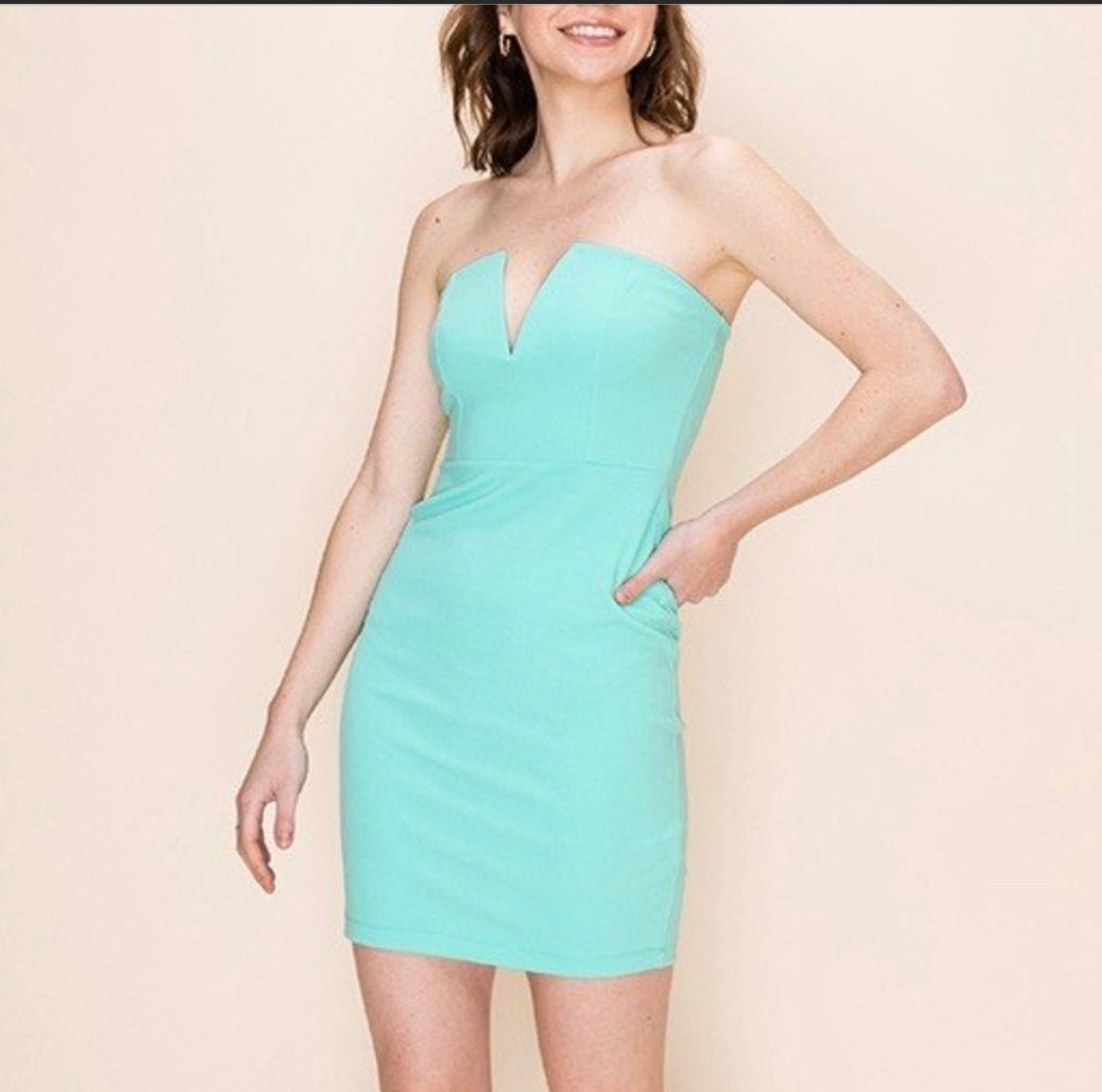 Mini Strapless Dress Mint Green