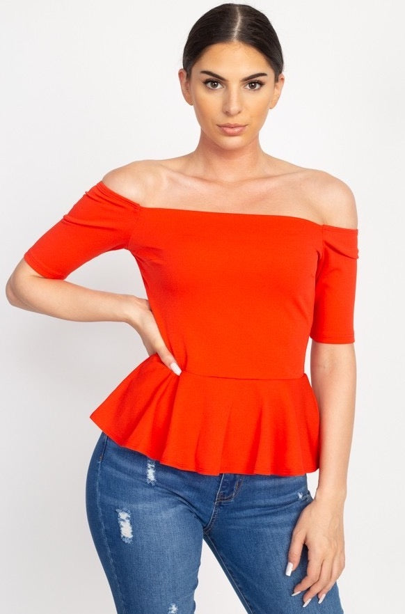 Off the Shoulder Top Red