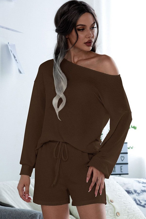 Coffee Two Piece Loungewear Set