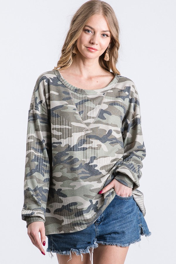 Camouflage Sweater Top
