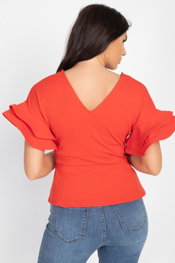 Red-Orange Tiered Sleeve Top