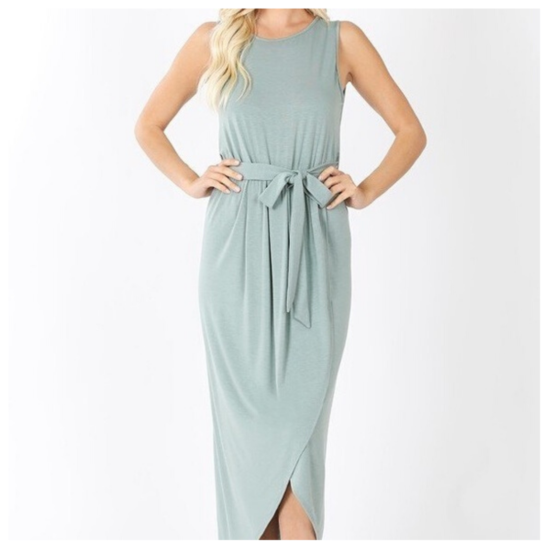 Light Green Maxi Sleeveless Dress