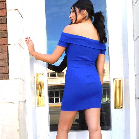 Royal Mini Off the Shoulder Dress