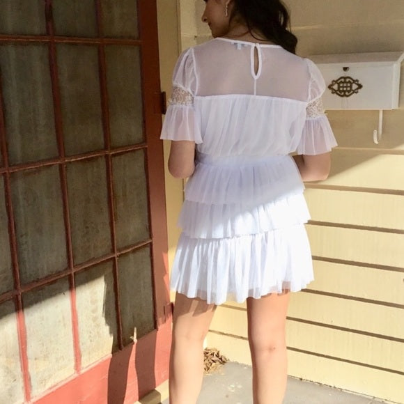 White Sheer Mini Dress