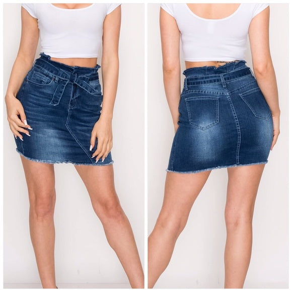 Denim Mini Distressed Skirt