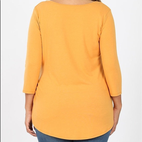 Plus Size Mustard Knit Top