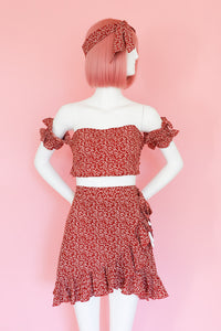 Red Floral Two Piece Summer Dress