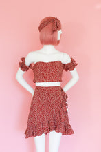Load image into Gallery viewer, Red Floral Two Piece Summer Dress
