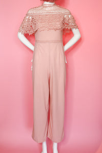 Pink Lace Jumpsuit One Piece