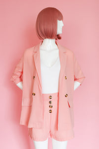 Pink Shorts and Blazer Two Piece Set