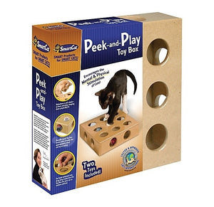 SmartCat Original Peek-And-Play Interactive Cat Toy Box With Bonus Toys