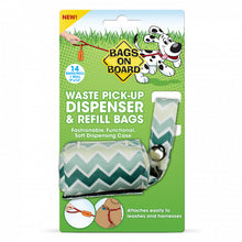 Load image into Gallery viewer, Bags on Board Fashion Waste Pick up Bag Dispenser Green Chevron Print + Bonus 14 Bags