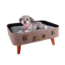 Load image into Gallery viewer, Vintage Retro Suitcase Pet Bed - Brown by Ibiyaya