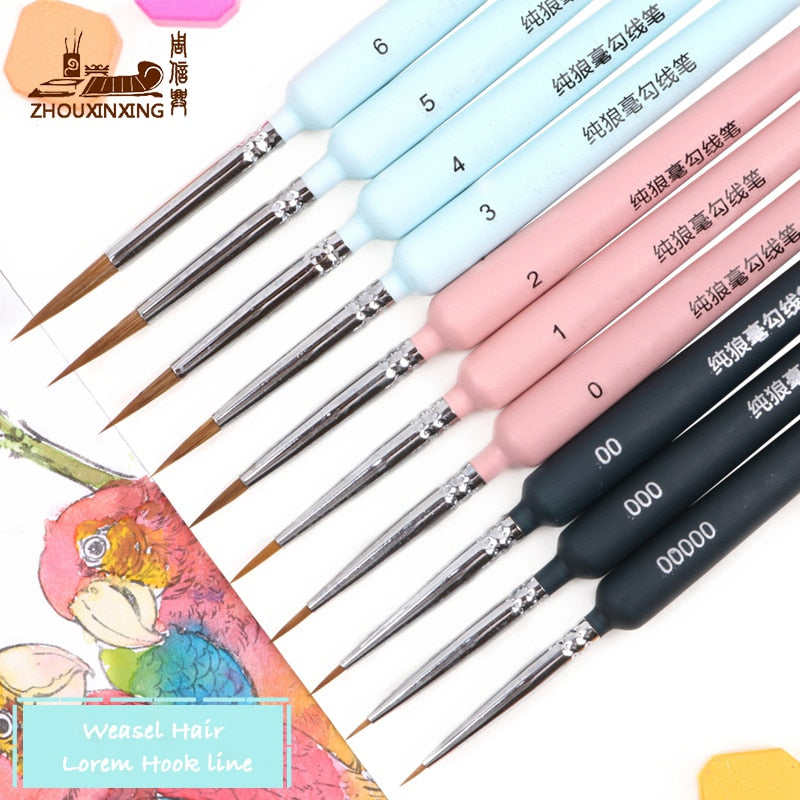 Different colored painted brush set