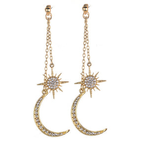 New Bohemian Retro Fashion Sun Moon  Exaggerated Long Pendant Statement Earrings For Women Beach Party Jewelry