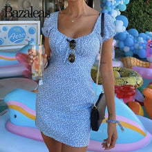 Load image into Gallery viewer, Bazaleas Holiday Center Bow Summer dress Vintage Blue Floral Print Beach Dress Slim women mini dress vestidos dropshipping