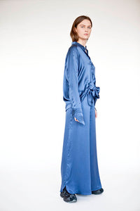 Cabin Shirt Dress, Blue Silk
