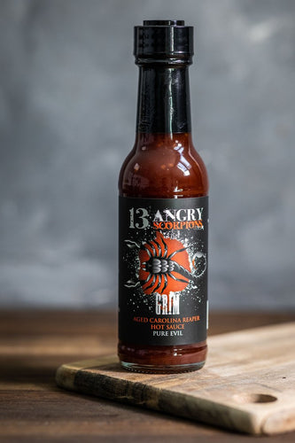 13 Angry Scorpions Grim BBQ Hot Sauce - Pure Evil
