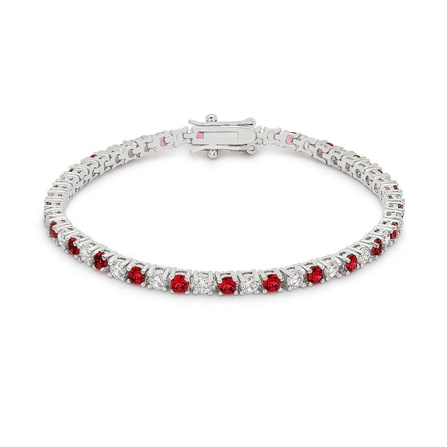 Ruby Red Cubic Zirconia Tennis Bracelet