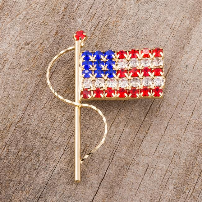 Gold Tone USA Flag Brooch With Crystals