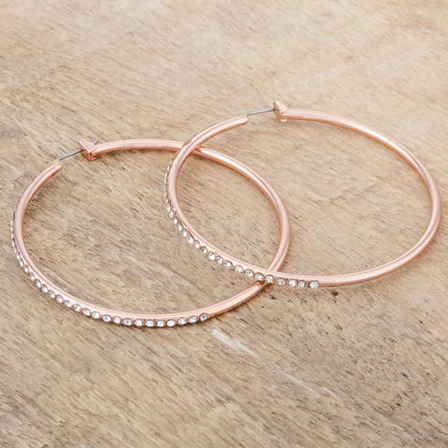 Large Rosegold Hoop Earrings with Crystals