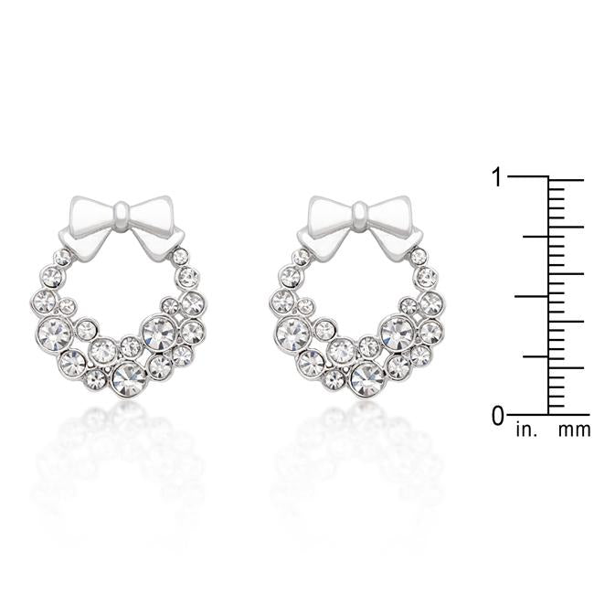 Holiday Wreath Clear Crystal Earrings