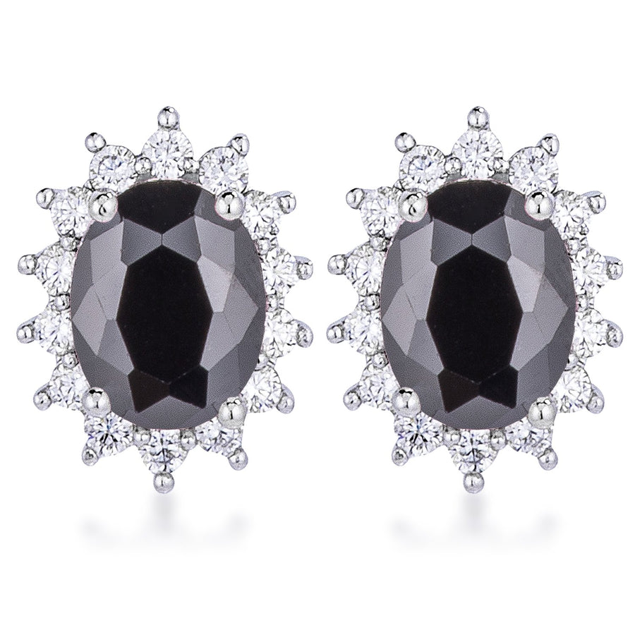Rhodium Plated Black Petite Royal Oval Earrings