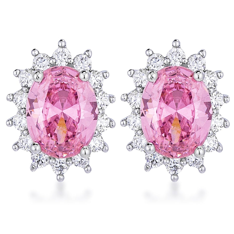 Rhodium Plated Pink Petite Royal Oval Earrings