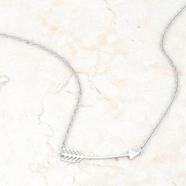 Arianna Rhodium Stainless Steel Arrow Necklace