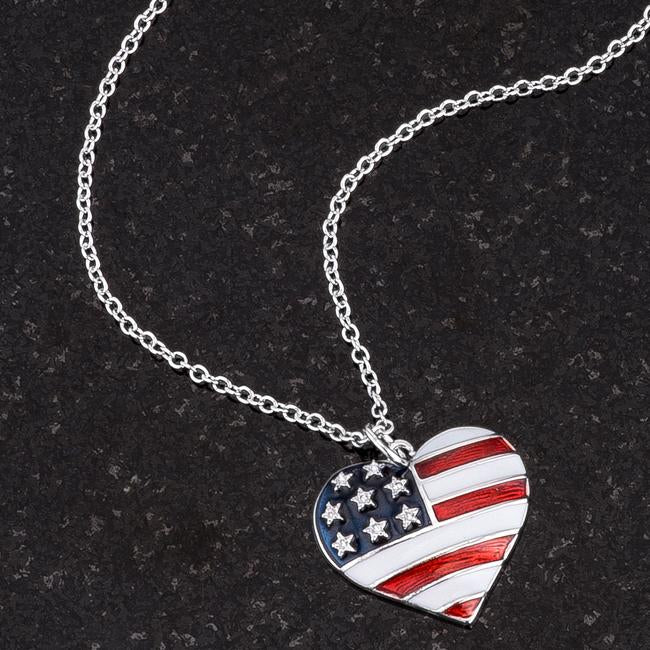 Stars and Stripes Rhodium Necklace with CZ