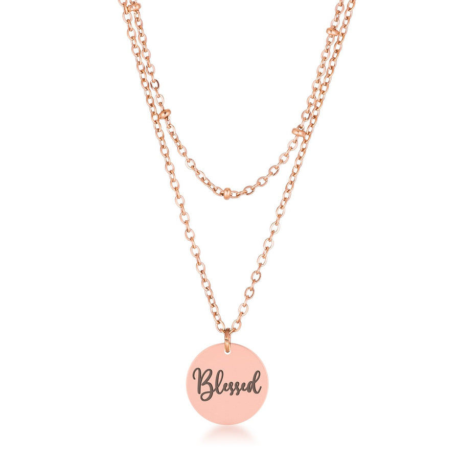 Delicate Rose Gold Plated Blessed Necklace